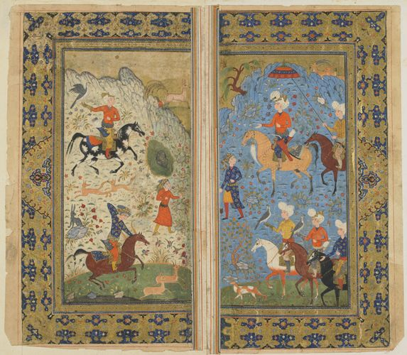 Double-folio from a Shahnama (Book of Kings) by Firdawsi; A Royal Hunt circa 1590-1600 Safavid period Opaque watercolor and gold on paper H: 36.8 W: 19.5 cm Iran Purchase--Smithsonian Unrestricted Trust Funds, Smithsonian Collections Acquisition Program, and Dr. Arthur M. Sackler S1986.188.1-2