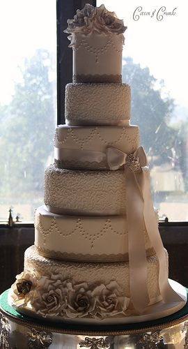 #neutral wedding ... Antique gold and champagne wedding cake