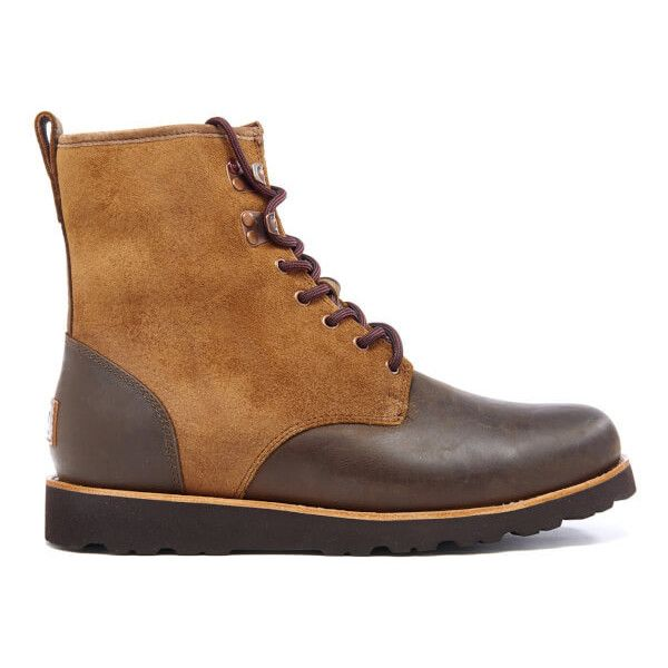 UGG Men's Hannen TL Waterproof Leather Lace Up Boots - Dark Chestnut ($255) ❤ liked on Polyvore featuring men's fashion, men's shoes, men's boots, tan, mens round toe cowboy boots, mens lace up boots, mens ankle boots, mens tan shoes and mens leather boots