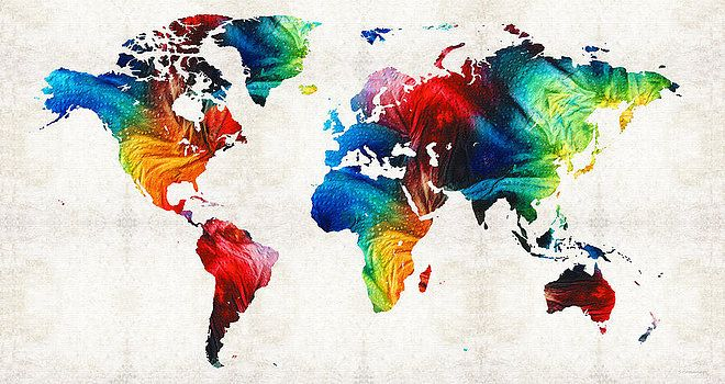 Sharon Cummings - World Map 19 - Colorful Art By Sharon Cummings