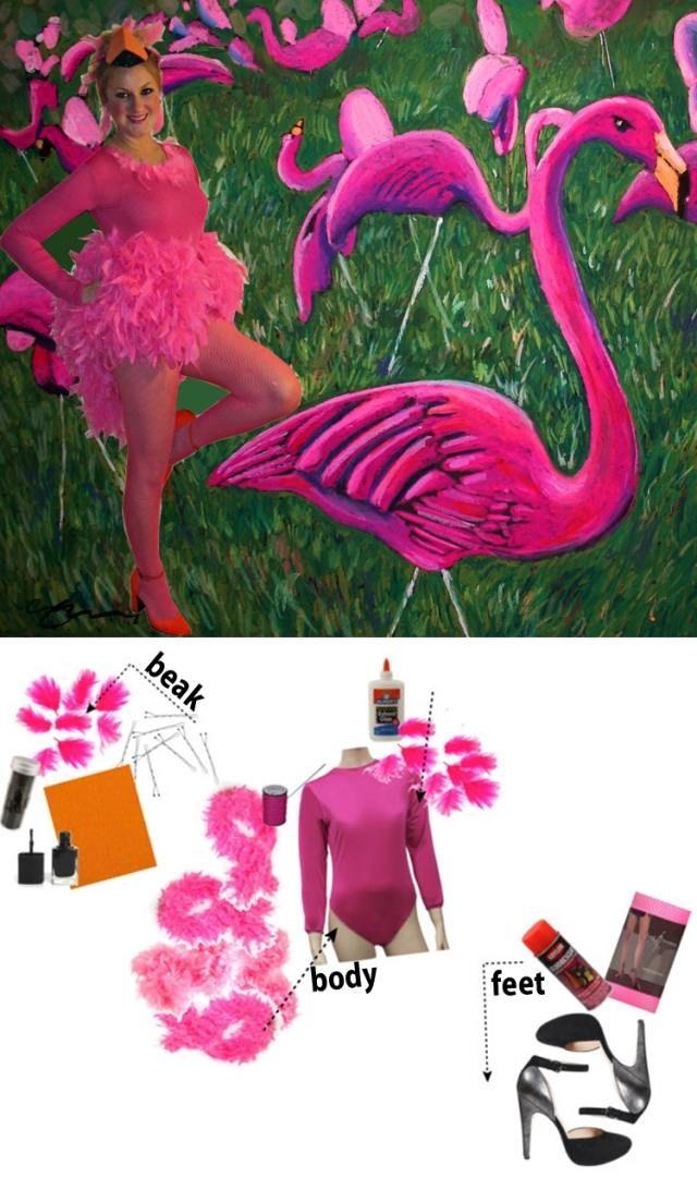kostüm zusammenstellen idee frauen karneval pink federboa Flamingo