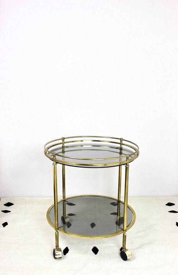 Vintage Beistelltisch Messing Kleiner Servierwagen Barwagen Coffee Table Glas Tisch 60er 70er Jahre Runder Fahr Occasional Table Smoked Glass Glass Table
