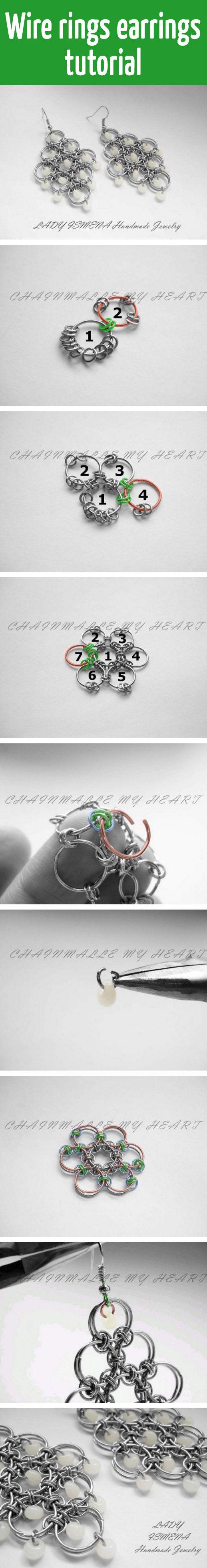 Wire rings earrings tutorial