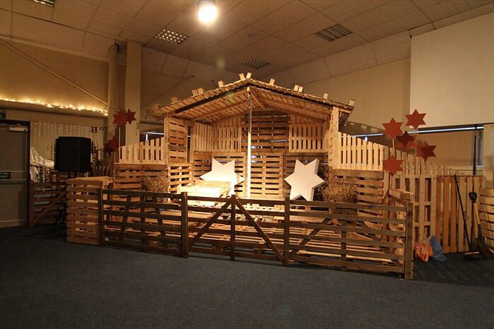 For Christmas series. Make the entire stage a manger with upcycled pallets. Cut out big baby animals with cardboard and staple pictures onto shapes