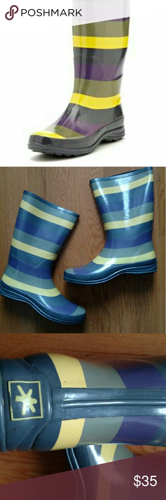 Splendid rain boots Splendid rubber rain boots. Good condition. Gray, purple and yellow. Original box included. Splendid Shoes Winter & Rain Boots