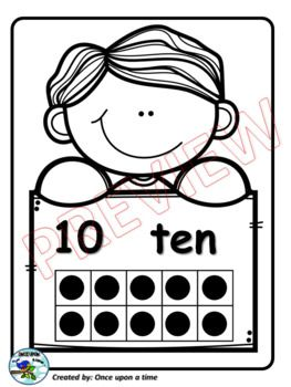 TEN FRAME POSTERS (0-10) Ten Frame Posters with kids (0-10)  The file includes 11 ten frame posters with kids for numbers 0 to 10. You will find each poster in five versions: colored, blackline, with blue, purple and black background. Be sure to check out the preview file. Thank you!