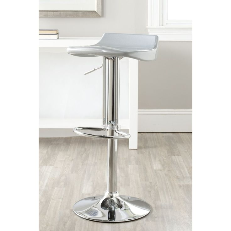 Safavieh Avish Silver Adjustable 24-32-inch Bar Stool (FOX7506D) (Chrome)