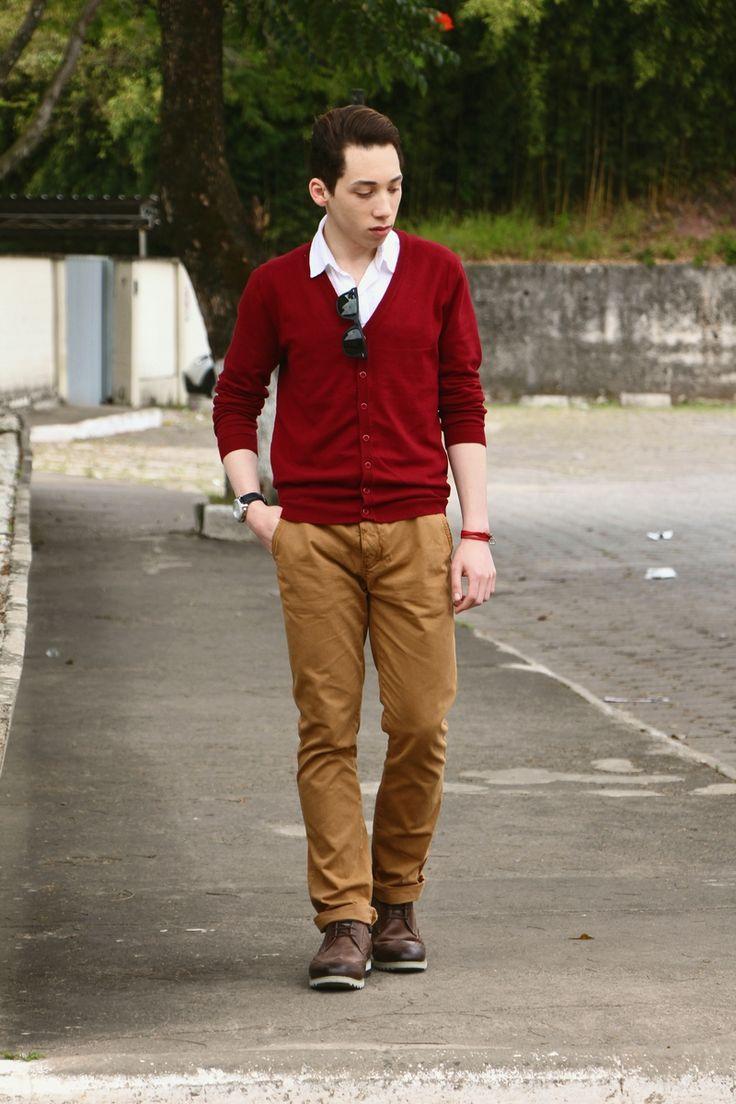 Menu0026#39;s Burgundy Cardigan White Short Sleeve Shirt Tobacco Chinos Dark Brown Leather Brogue ...