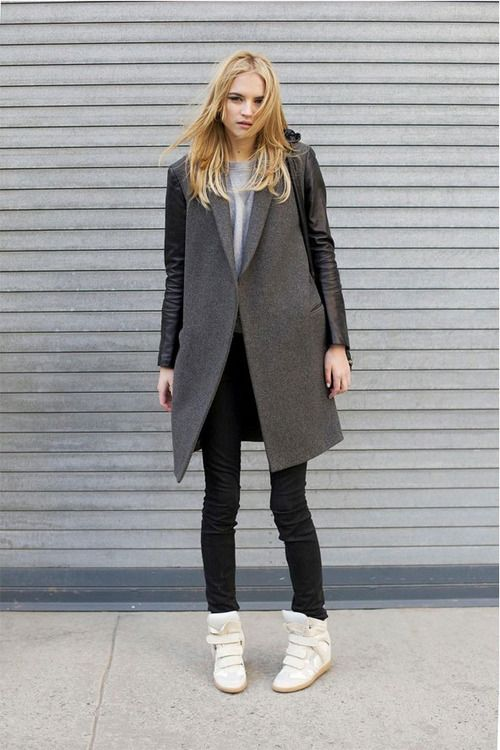 Women's Charcoal Coat, Grey Crew-neck T-shirt, Black Jeans, White Wedge  Sneakers