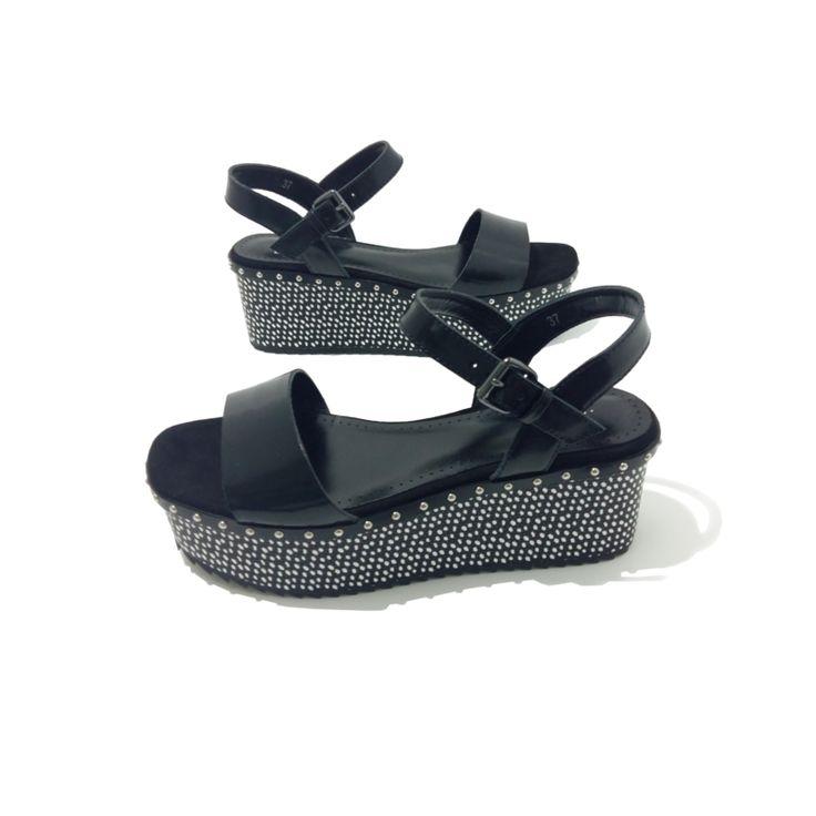 CHAUSSURES plateforme Noir BIBI LOU. Sandales Femme compensées Ville. Design Mode.