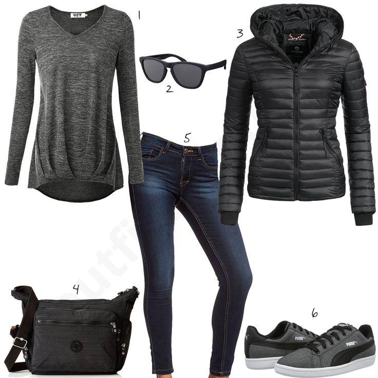 Wie gefällt dir dieses komplette Damen-Outfit mit schwarzer Navahoo Steppjacke? Unter der schicken Jacke kannst du den dünnen Pullover von DJT tragen. Dazu passen die Skinnyfit Jeans von Only und die grau-schwarzen Puma Sneaker. Die coole Sonnenbrille und die Kipling Umhängetasche runden das gelungen Outfit ab. #outfit #style #fashion #womensfashion #womensstyle #womenswear #clothing #styling #outfitfrauen #frauenmode #damenmode #handtasche  #inspiration #outfitfrauen #frauenoutfit…