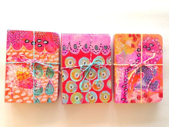 Miniature Hand-Painted Composition Notebook - THREE PACK !