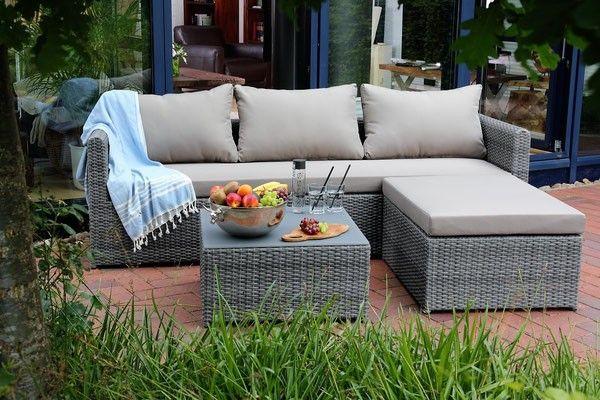 Sofaset Lounge Meridien 3 Sofa Hocker Tisch Inkl Polster Hellgrau Lounge Mobel Balkonmobel Lounge