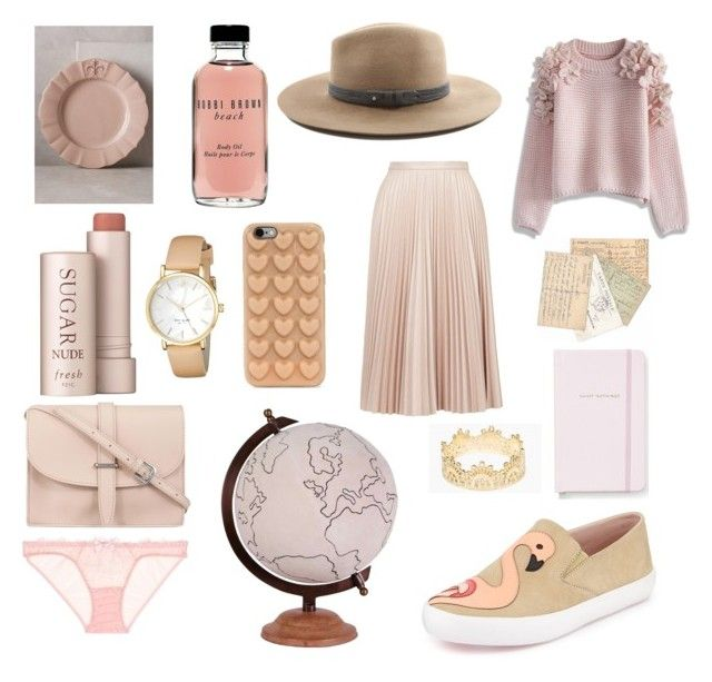 peach and pink blush for Valentine´s by www.irinahp.com on Polyvore featuring Chicwish, Topshop, L'Agent By Agent Provocateur, Kate Spade, M.N.G, Grace Lee Designs, rag & bone, Marc Jacobs, Fresh and Bobbi Brown Cosmetics