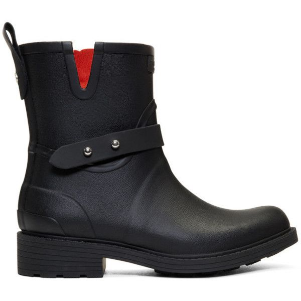 Rag and Bone Black Moto Rain Boots (20860 RSD) ❤ liked on Polyvore featuring shoes, boots, wellington rubber boots, rubber rain boots, black rain boots, black rubber boots and mid calf rain boots