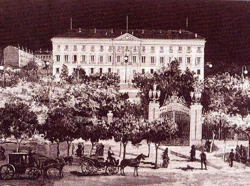 Primera iluminación estable en Madrid con lámparas incandescentes. 1883.  Palacio de Buenavista, hoy Cuartel General del Ejército