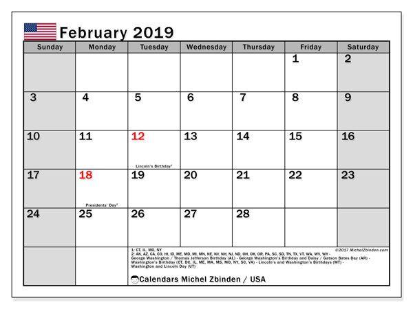 February 2019 Calendar Usa February 2019 Calendar USA   125+ February 2019 Calendar