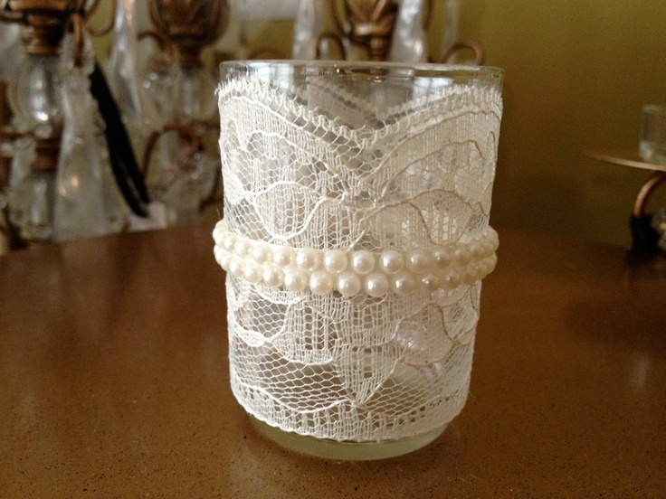 Lace and Rhinestone or Pearl Wrapped Glass Votive