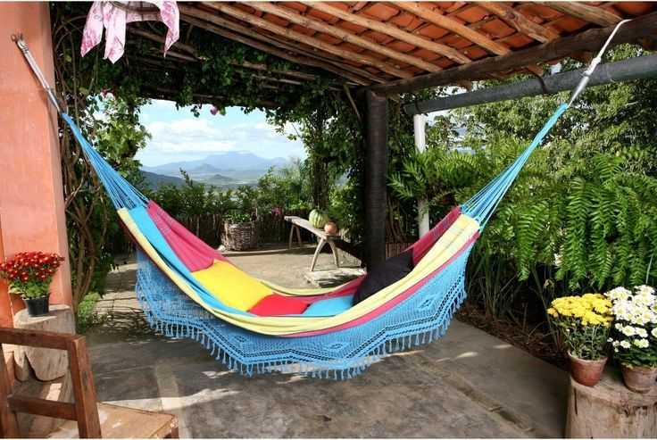 This Brazilian Hammock gives you a place to relax all day long.