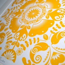Yellow birdy screen print for sale