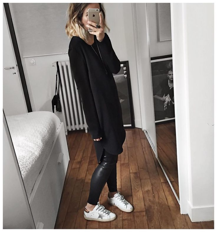 Audrey sur Instagram : Passion robe tunique ⚫️❤️ • Dress #designersremix (from @designersremix) • Leather Legging #samsoe (on @cyrielleforkure) • Sneakers #goldengoose (from this Year but sold out) ...