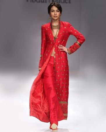 Poppy Red Jacket with Antique Hand Embroidery-eastwest fusion