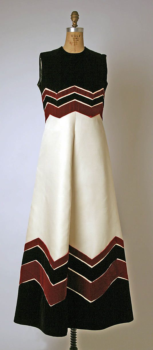 Evening dress, House of Balmain  (French, founded 1945)   Designer: Pierre Balmain (French, St. Jean de Maurienne 1914–1982 Paris) Date: 1970 Culture: French Medium: silk, cotton, synthetic