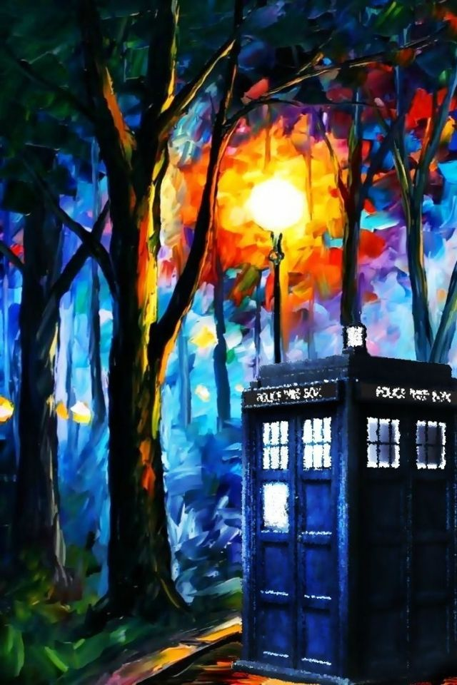 Leonid Afremov painting with a TARDIS added to it, but it is still lovely! ♥♥ (doctor who 1915x1079 wallpaper Art HD Wallpaper)