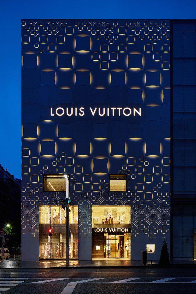 Indigo punched by ivory in the dramatic Louis Vuitton Matsuya Ginza facade renovation, Tokyo. Jun Aoki design.