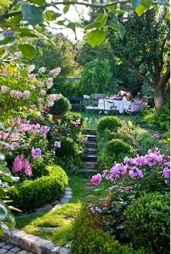 Looks like a fairy tale garden, except the stairs.  I wouldn't be able to climb anymore without rails to hold onto.                                                                                                                                                                                 More