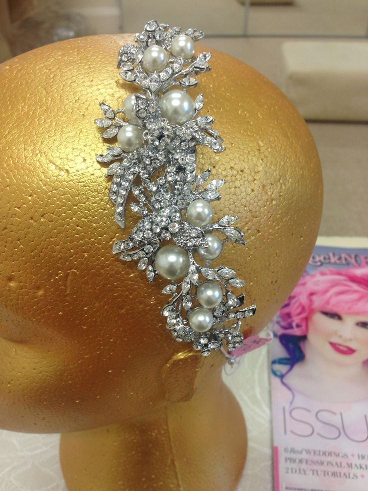 Side Vintage Style Tiara with Faux Pearls and Crystal detailing.