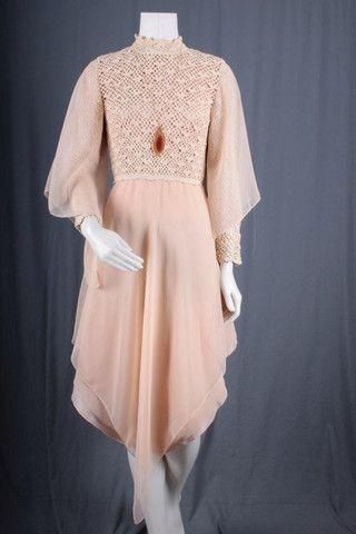 Crochet Dress Hi Low beige angel sleeves women size S small – Sparrow Lyn