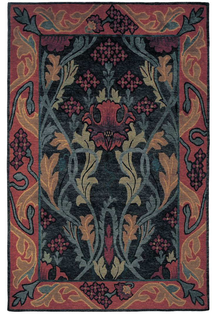 Stickley Furniture. English Garden RU-1010  A Nepalese wool carpet, this rug was inspired by the work and designs of William Morris. Featuring a bold color palette that complements an equally bold design, this rug is hand-knotted by Nepalese weavers using wool from Himalayan Highland sheep.