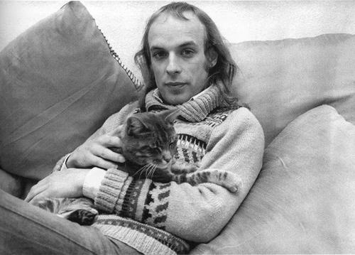 Briano Eno (with a cat!).  Eno is arguably one of the most influential musicians who has always sat on the edge of pop and the avant-garde.  Brilliant and inspiring.