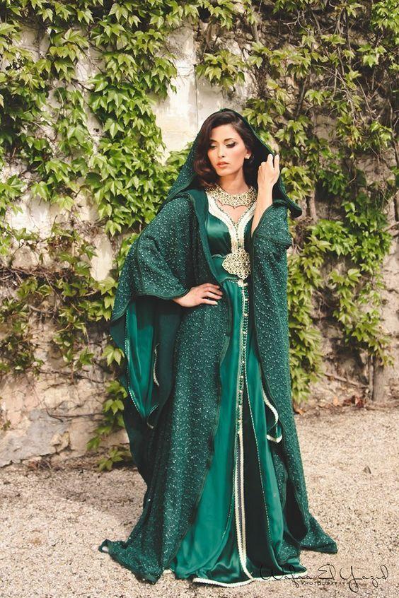 ae8918afe55eb Tendance robes de soirée   Robe Dubai verte avec manches longues et capuche    Pinterest   Tendance, Les larmes et Dubaï