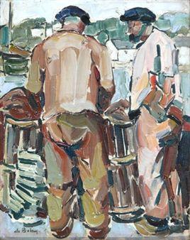 """""""Deux pêcheurs aux casiers à Audierne"""",  by Pierre de Belay ,1929"""