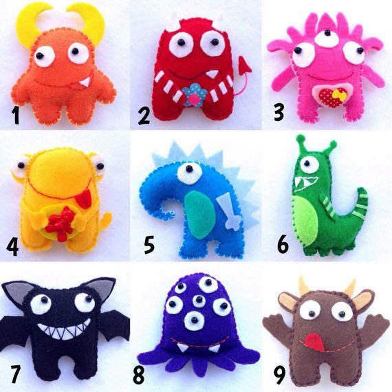 Felt monsters, Christmas ornaments, Christmas tree ornaments, monsters, plush monsters, microbes, monster, soft monsters