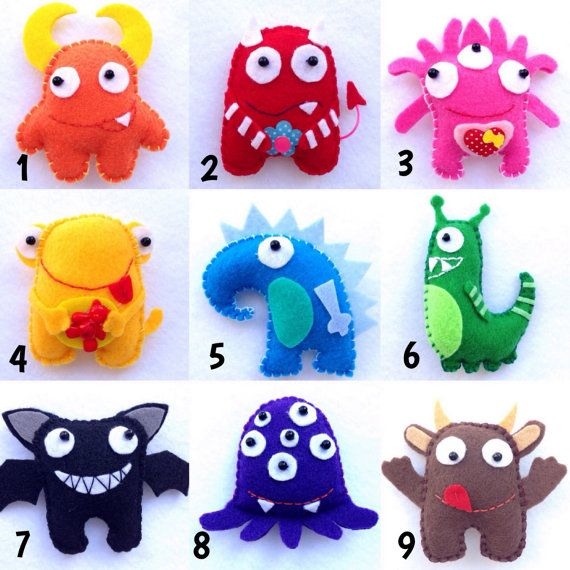 Felt monsters, Christmas ornaments, Christmas tree ornaments, monsters, plush monsters, microbes, monster, soft monsters