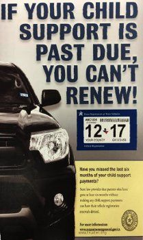 Texas vehicle registration and child support - poor politics