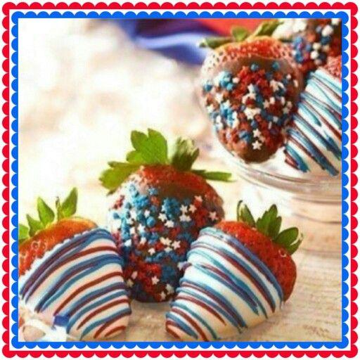 Patriotic chocolate covered strawberries ~ CANDIESBERRIS.COM