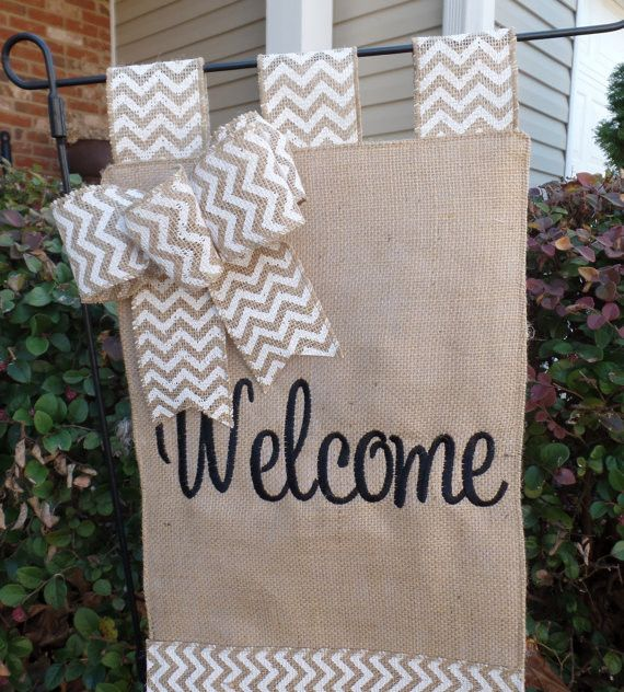 Burlap embroidered welcome garden flag outdoor decor
