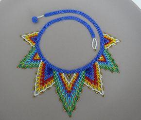 Peyote abalorios mexicano Multicolor en forma de V por LucianaLavin