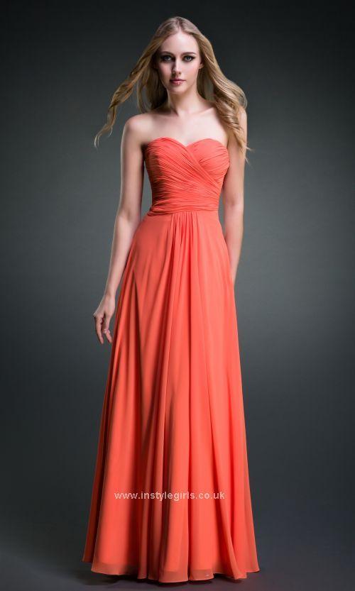 Long Strapless Sweetheart Orange Prom Dresses ISG0046