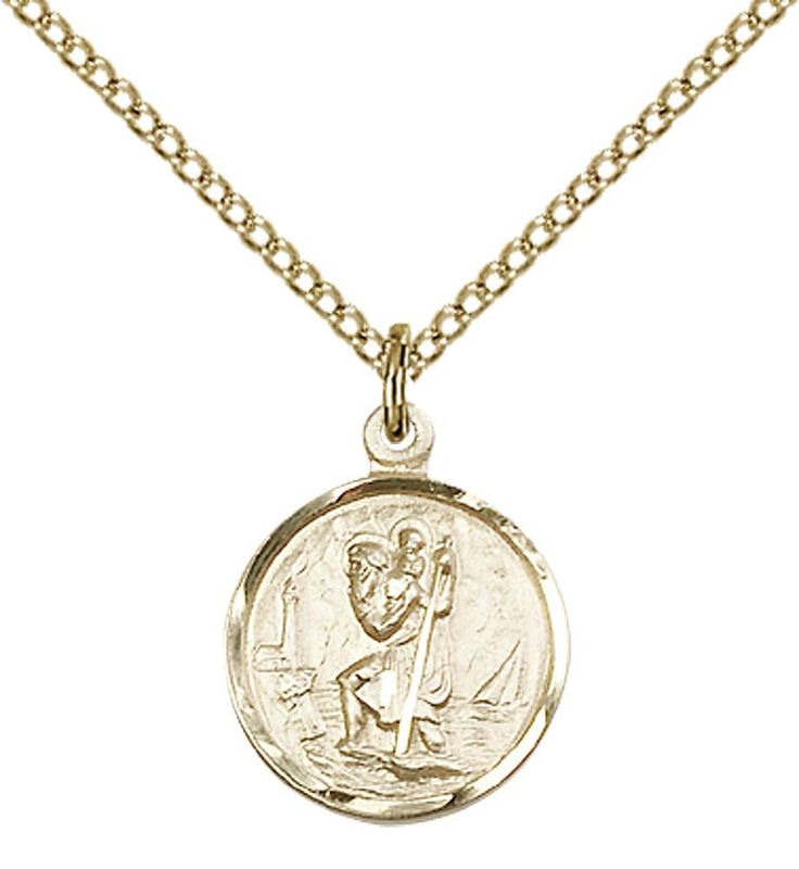 """14kt Gold Filled St. Christopher Pendant with 18"""" Gold Filled Lite Curb Chain. Patron Saint of Travelers/Motorists. 14kt Gold Filled Medal/Pendant with Curb Chain. Includes Deluxe Gift-Box. Made in USA. Lifetime Guarntee."""