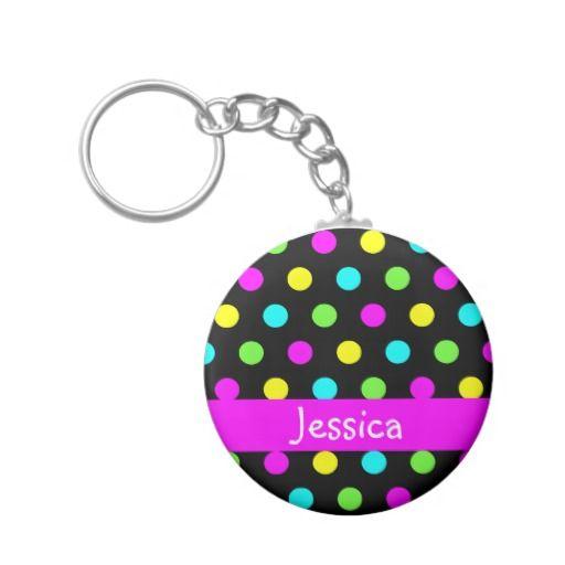 Colorful Polka Dots - Girly Name Keychain