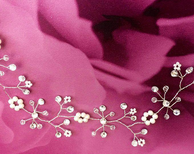 """Vite di capelli da sposa lunghi, nuziale, diadema, halo, crown, Boho, perle, cerimonia, comunione, damigella d'onore, crystal 10""""/ 20""""/ 30""""(25 / 50cm, 76cm)"""