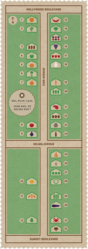 Hollywood Farmers Market Map: Graphic by Triboro Design; Illustration by Chris Lyons