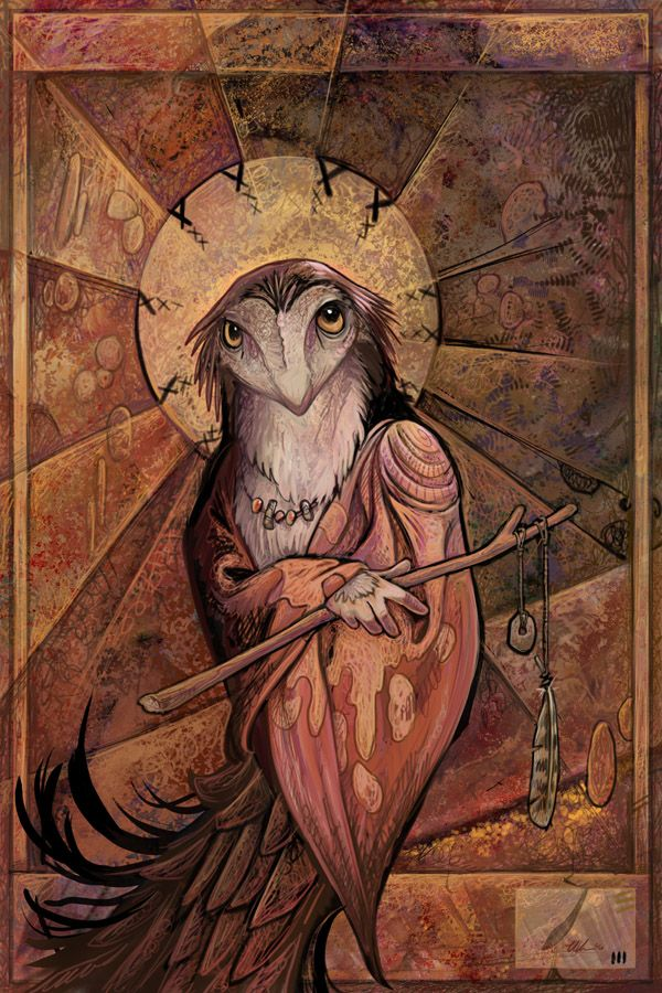 Owl Saint by Ursula Vernon (ursulav on deviantART). A framed print of this hangs in my home office.