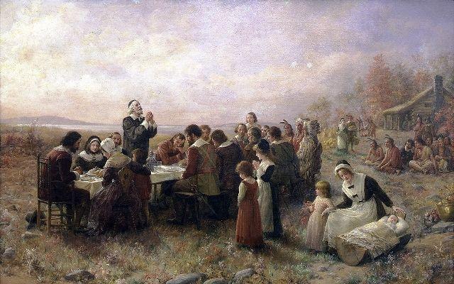 Feliz Dia de Ação de Graças (Happy Thanksgiving)! The First Thanksgiving at Plymouth - Jennie Augusta Brownscombe – 1914 at http://www.arteeblog.com/2015/11/feliz-dia-de-acao-de-gracas-happy.html