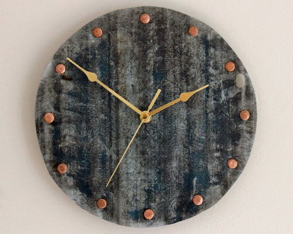 Industrial Wall Clock Blue Salvaged Metal by ReclaimedTime